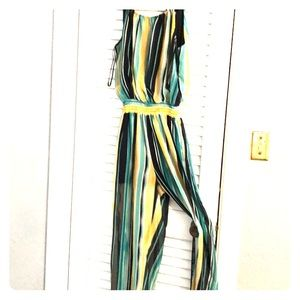 Pants - Striped sheer pant suit